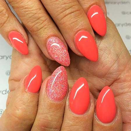 Pink, Polish, Art, Summer Glitter, Manicures, Shape, Almond