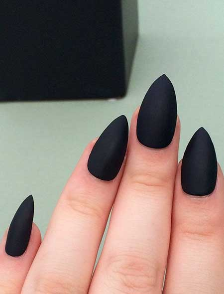 Matte Nail, Black Nail, Matt, Matte Black, Stiletto French Manicure, Black