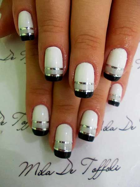 White Nail, Silver Nail Manicures, French, Grey