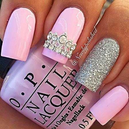 Nail, Pinkglitter Nail, Pretty Nail, Pink, Glitter, Silver, Idea, Pretty [,