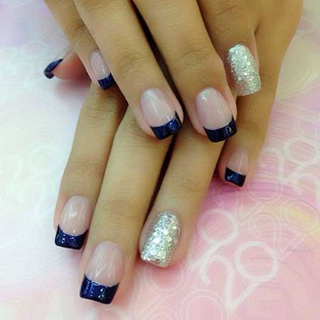 Nailrt, Frenchmanicures, French Manicurecrylic Blue, French, Tip