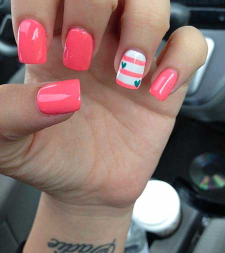 Pink, Pink Summer Nail, Accent Nail, Accent, 2017, Summer