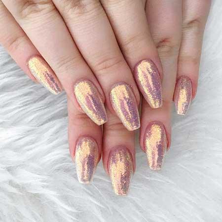 Glitter, Glitter Nail, Art, Pink Pretty Nail, Pink, Gold, Rose