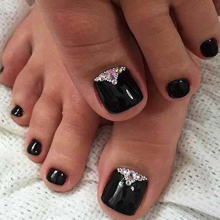 Silver Nail, Black Nail, Glitter, Pretty Nail, Silver, Black, Toe