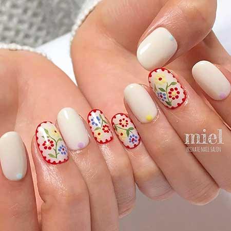 Art, Floral Nail, Flower Nail Summer Floral