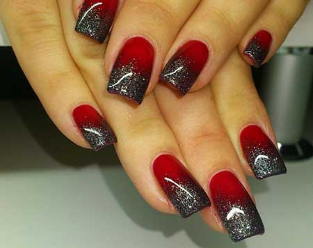 Christmas Red, Art Holiday Nail, Black, Ombre