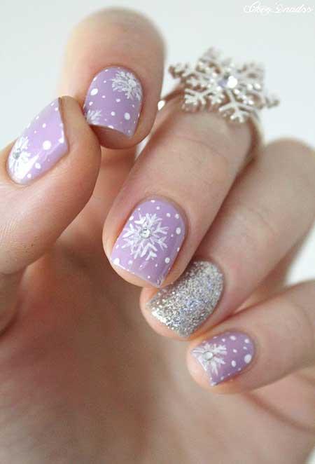 Glitter, Winter Nail, Glitter Nail, Sparkle, Short Short, Purple, Snowflake,