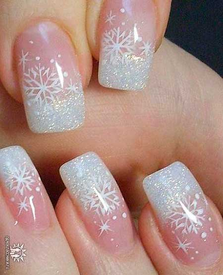 French Manicure, Winterwedding Christmas Lace Nail, White Nail, White, Lace