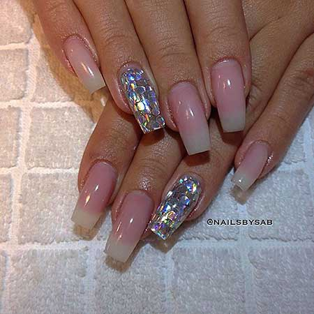Wedding Nail, Beauty Coffin French Manicure, Beautiful, Coffin, Wedding, French