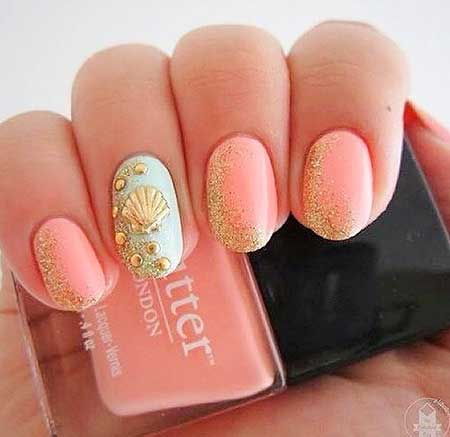 Nail Pretty Nail, Beach Glitter Nail, Pink, Summer Beach, Sea