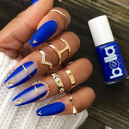 Blue Nail, Nail, Blue, Matte, Art, Gold, Design, Coffin