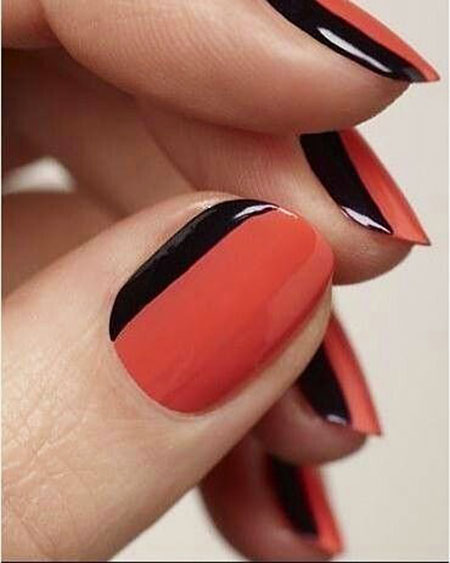 Black And Red, Nail, French, Manicure, Art, Sideways