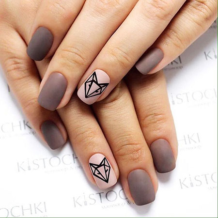Geometric Nail, Nail, Manicure, Art, Pale, Medium, Geometric