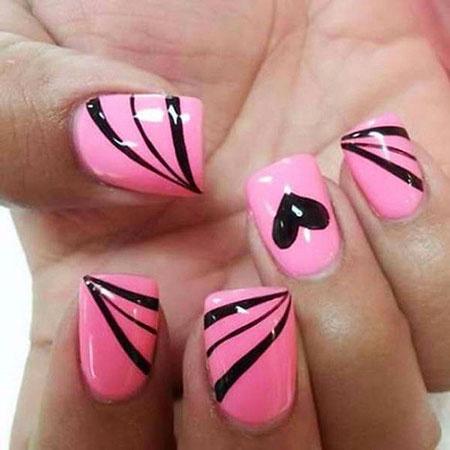 Pink And Black, Nail, Pink, Art, Design, 207