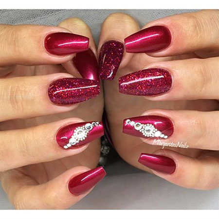 Red Nail, Nail, Ring, Coffin, Really, Pink, Glitter, Design
