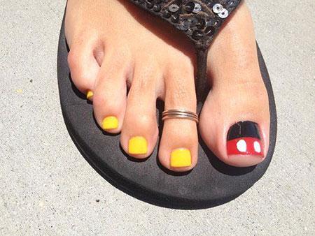 Mickey Mouse Toe Nail, Nail, Toe, Art, Pretty