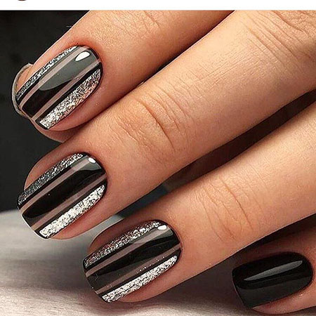 Black Nail, Nail, Short, Polish, Manicure, Design, Art