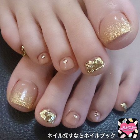 Gold Glitter Nail, Nail, Toenail, Toe, Pin, Pedicure, Gold