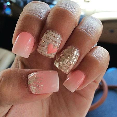 Pink Nail, Nail, Glitter, Wedding, Short, Pink, Ombre
