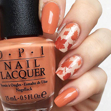 Leaves Nail Art, Nail, Autumn, Art, Season, Pumpkin, Polish, Paint, Opi