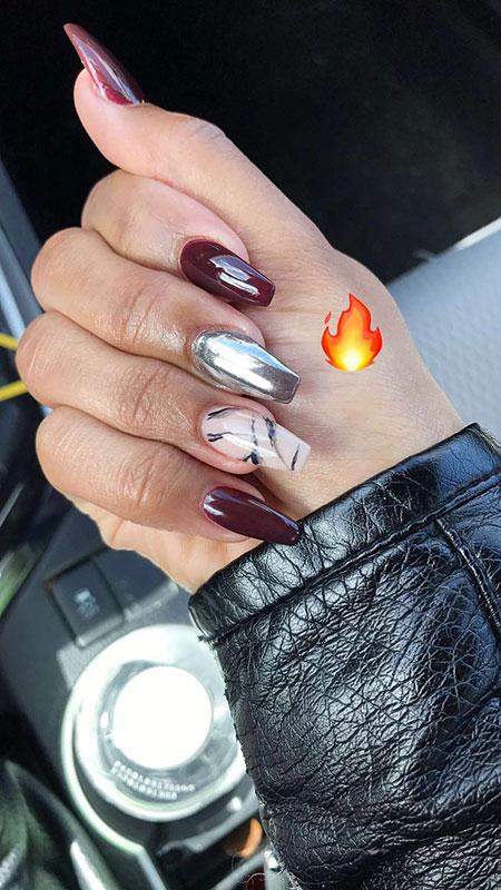 Marble Chrome, Nail, Polish, Pink, Marble, Fall, Design