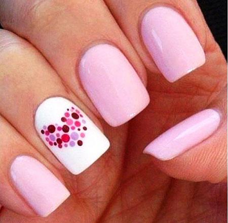 Pink Nail, Nail, Heart, Valentines, Pink, Matte, Easy, Dot