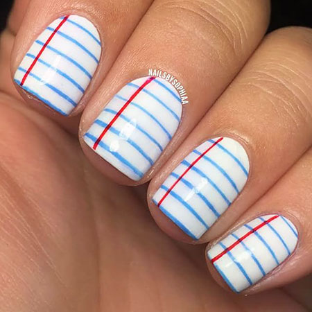 School Nail, Nail, School, Back, Art, Stripes, Stripe