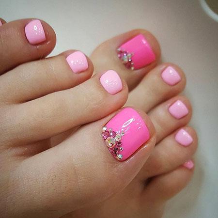 Hot Pink, Nail, Pink, Toes, Toe, Rhinestones, Pretty