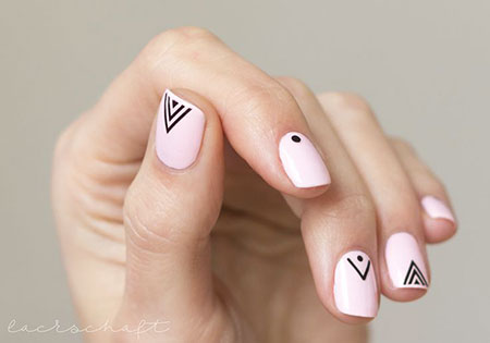 Pink Nail, Nail, Art, Stickers, Minimalist, Design, Back
