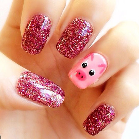 Piggy Nail Art, Glitter, Nail, Pink, Zoya, Polish, Kid, Art