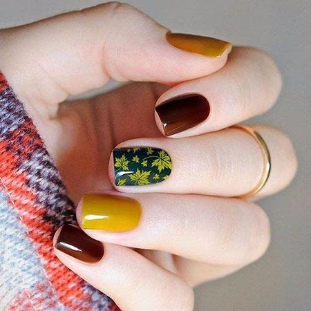 Dark Nail, Nail, Manicure, Green, Autumn, Art, Yellow