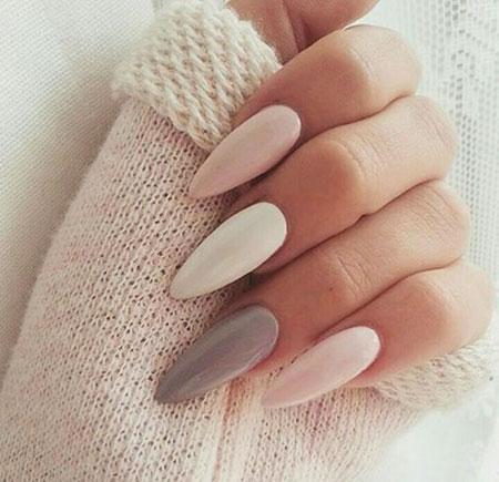 Simple Nail, Nail, Stiletto, Simple, Plain, Pink, Grey, Design