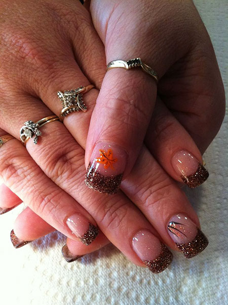 Fall Nail, Nail, Fall, Art, Short, Halloween, Glitter, Design, Acrylic