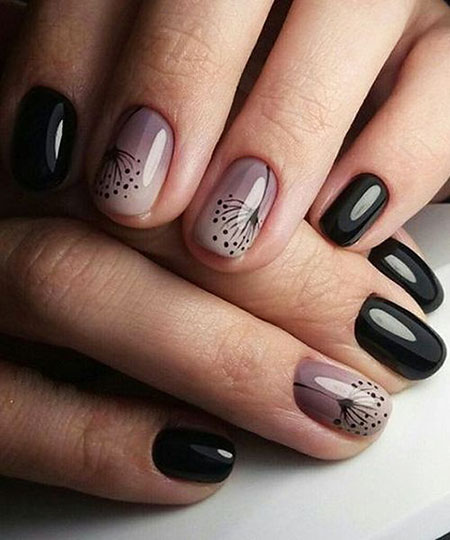 Black Nail, Nail, Manicure, Summer, Spring, Ombre, Design, Art