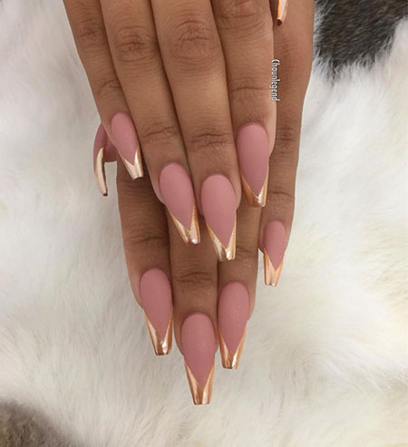 Pink And Gold, Nail, Coffin, Chrome, Pink, Matte, Long, Gold