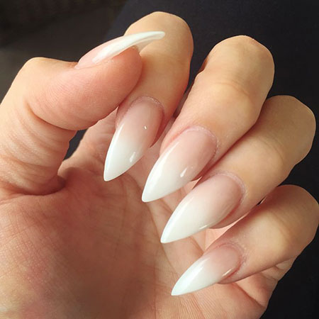 Ombre Nail, Nail, Stiletto, Ombre, French, Winter, Luxury