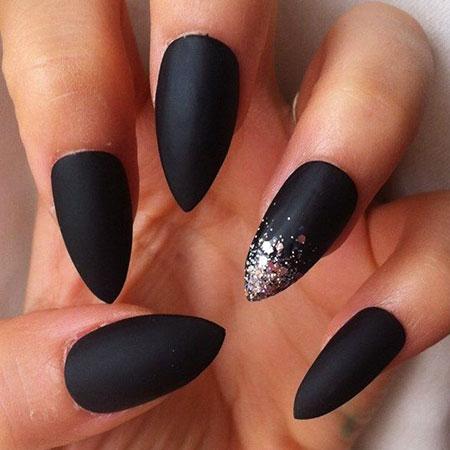Matte Black Nail, Nail, Matte, Stiletto, Design