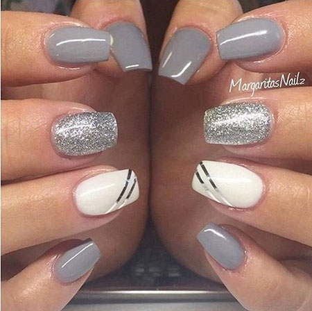 Silver Grey, Nail, Summer, Spring, Silver, Polish, Grey