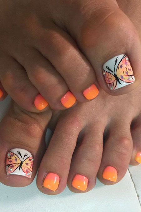 Orange Nail, Nail, Toe, Art, Summer, Orange, Design