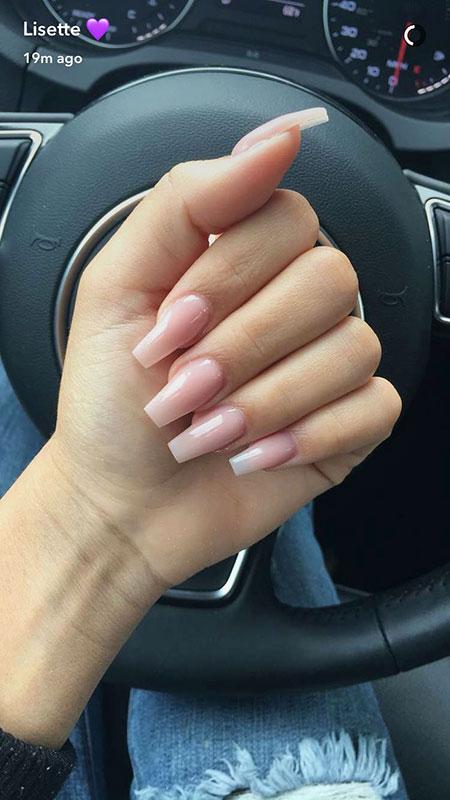 Pink Acrylic Nail, Nail, Pink, Natural, Acrylic, Coffin