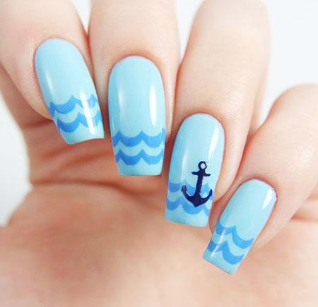 Blue Nail Polish, Nail, Polish, Art, Anchor, Stencils, Opi, Glaze