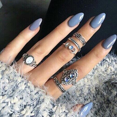 Blue Stiletto Nail, Nail, Stiletto, Blue, Rings, Ring, Pretty