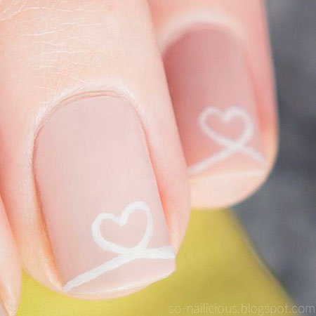 Valentines Nails, Simple, Nail, Valentines, Short, Pink