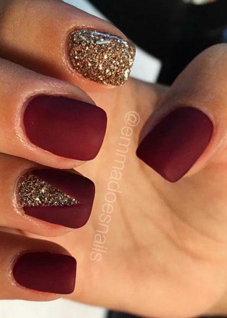 Matte Red Nail, Nail, Glitter, Fall, Year, Polish, Matte, Gold, Design