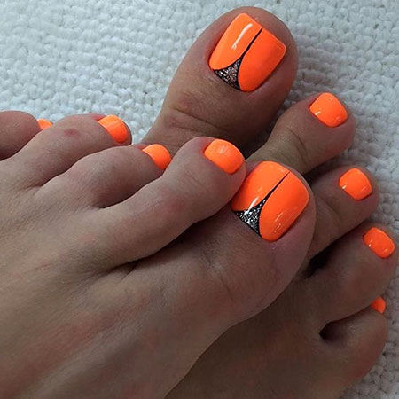 Orange Nail, Nail, Orange, Halloween, Summer, Pedicure, Neon, Manicures