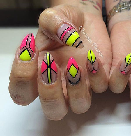 Pink And Yellow, Nail, Yellow, Pink, Neon, Art, Themed, Shades