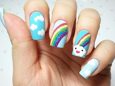 Rainbow Nail, Nail, Rainbow, Art, Snowman, Manicure, Easter