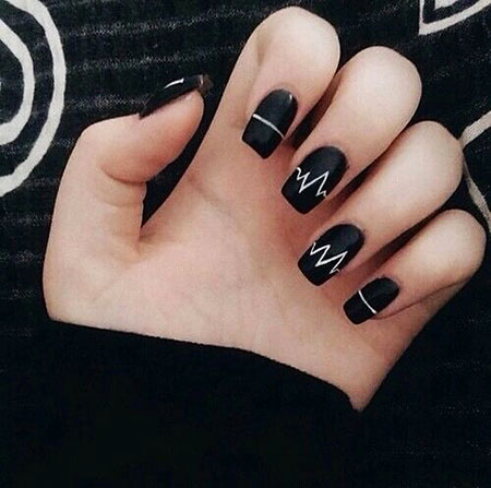 Black Nail, Easy, Nail, Very, Short, Long, Different, Design