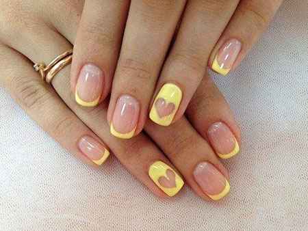 Yellow Nail, Nail, Manicure, Yellow, French, Summer, Ring