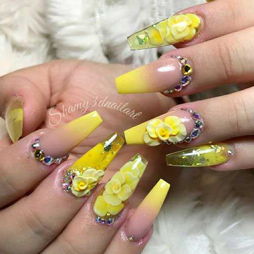 Long Coffin Shape Nail Arts-14